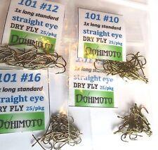 100) 101 straight eye Dry Fly Tying Hooks #16 #14 #12 #10 assortment, 25 of each