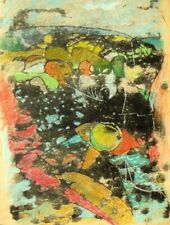 Modernist hand finished studio monotype and pastel mixed media print 1960's