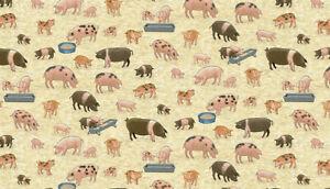 Makower Fabric tractors village life farm Pigs -100% cotton half metre