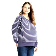Sweatshirt Isabel Maternity Size M Blue White Striped Pullover 100% Cotton