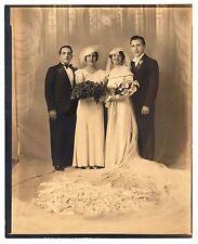 Vintage 8x10 Photo Beautiful Bride Groom Wedding Party Portrait Antique Aug17