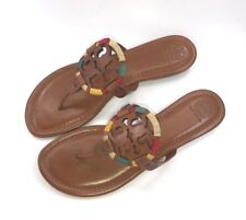 Tory Burch NEW Miller Tan Leather Embroidered Colorful Flat Sandal Runs Small