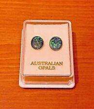Genuine Australian Coober Pedy Triplet Opal Gold Stud Earrings 10mm x 8mm