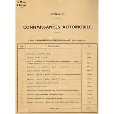 Connaissances Automobile 13 Fiches des Matières Enseignées à L'ARMÉE vers 1950