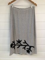 MEGAN SALMON Navy Blue & White Striped Midi Skirt With Silk Floral Appliqué - 12