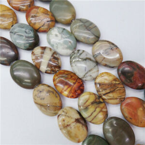 """1 Strand 16x12x5mm Natural Picasso Jasper Oval Spacer Loose Beads 15.5"""" HH8941"""