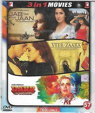JAB TAK HAI JAAN/ VEER ZAARA/ DARR -  3 FILMS IN 1 YASHBOLLYWOOD DVD