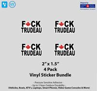 """4- Pack 2"""" x 1.5"""" F Trudeau Sticker Pack"""