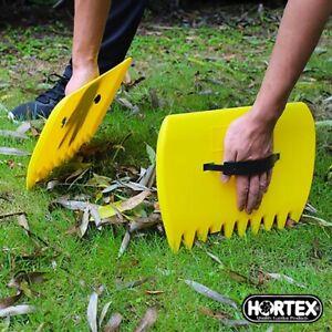 Garden Yard Leaf Scoops Grass Hand Handy Durable Rakes Pair Universal Fit