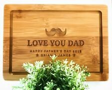 Father's Day Gifts - Personalised Engraved Serving Board (Moustache Design)