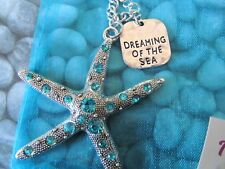 Dreaming Of The Sea Blue Rhinestone Starfish Necklace, Seashell Necklace, Beach