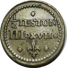 O1167 Rare HENRI III HENRI IV POIDS MONÉTAIRE 1/2 demi-TESTON n.d. Anvers ->FO