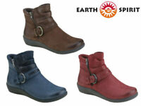 Earth Spirit Ankle Boots Ladies Flat Leather Nubuck Zip Up Buckle Winter Shoes