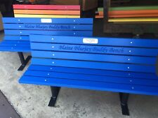 Buddy Bench Blue Plastic Lumber-Solid steel Frames,Includes Laser Engraved Plate