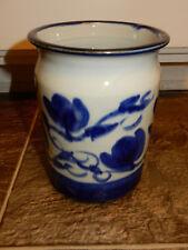 Tamarack Pottery BL FL Large Crock Blue, White North Carolina