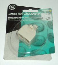GE Duplex Wall Jack Adaptor - ALMOND TL26104  NIP