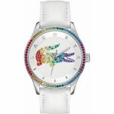 Lacoste VICTORIA RAINBOW Quartz 2000822 Leather WHITE SWAROVSKI CRYSTALS Watch