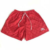 Vintage 90s Umbro Nylon Checkered Soccer Shorts Red Adult Size XL Made In USA
