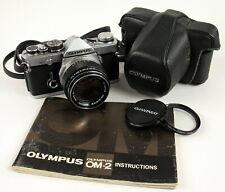 Olympus OM-2 35mm Camera w/G Zuiko 50mm f1.4  Lens Case Manual Parts