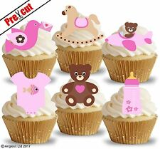 PRE-CUT CUTE BABY GIRL TOYS V. EDIBLE WAFER PAPER CUP CAKE TOPPERS DECORATIONS