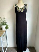 FLOWER Size 10 Black Beaded Maxi Dress Long Basic Round Neck NEW