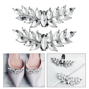 2Pcs Rhinestone Shoe Clips Charms for DIY Wedding Dress Shoes Bridal Accessories