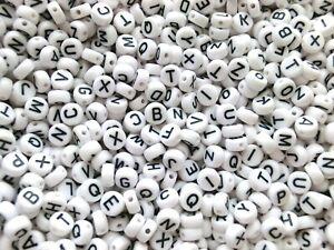 Buchstaben A-Z Mix 100-1000 Stk Buchstabenperlen Alphabet weiß rund 7mm Acryl