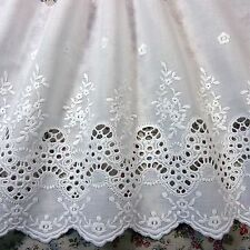 Vintage Style Scalloped Embroidered Cotton Crochet Lace Trim White 24cm Wide 1yd