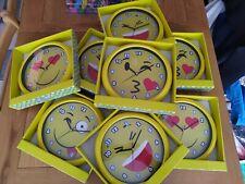 8 EMOJI EMOTICON SMILEY WALL CLOCKS KIDS JOBLOT Clearance Tombola Prizes PTA