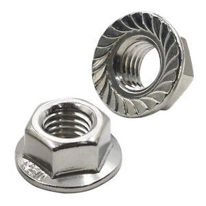 2 x M10 (10mm) Fine 1.25 Pitch A2 Hex Flange Locking Nuts Bikes Wheels Axles BMX