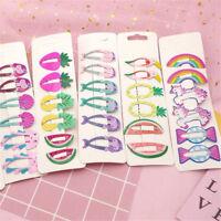 6Pcs Kawaii Girls Baby Hair Clips Snaps Hairpins Cute Kid Sweet Hair Accessories