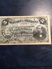 Argentina 5 Centavos Note 1892