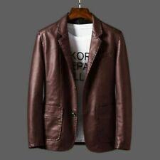 Casual Faux Leather Biker Jackets Mens Bomber Slim Blazer Coat PU Suit Outwear