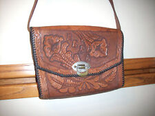 BEAUTIFUL LEATHER HAND CARVED HAND BAG CLEAN HORSE SHOE CLASP REBA NAME ON IT