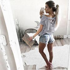 Women Lace Up Back T shirt Tops Summer Short Sleeve Casual Blouse Tee Shirt US