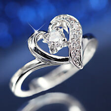 9K WHITE GOLD GF LOVE HEART SOLITAIRE LAB DIAMOND LADIES WEDDING ENGAGEMENT RING