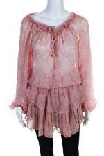 Love Shack Fancy  Womens Tiered Blouse Mini Dress Pink Silk  Size Medium
