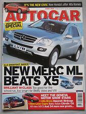 Autocar 8/3/2005 featuring BMW X5, Mercedes, VW Touareg, Vauxhall Tigra, Volvo