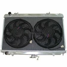 CXRacing Aluminum Radiator + Fans For 89-94 240SX S13 KA24E KA24DE RB20 TM