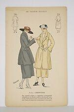 Incisione Moda colorato Stencil CLAUDIE i Sarti nuovi v 1925 Distinzione
