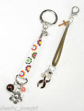 #6334 -- BROWN AWARENESS RIBBON CHARM FLORAL RIBBON KEY CHAIN SET -WOW!