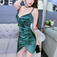 Lady Bodycon Dress Sexy Faux Silk Satin Strappy Slim Clubwear Pleated Party Soft