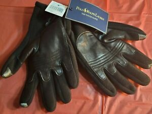 Polo Ralph Lauren Black Wool Touch Genuine Leather Palm Gloves Size Large XL $68
