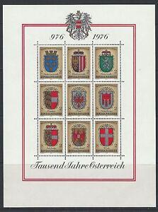 AUSTRIA - #1042 - COAT-OF-ARMS FULL SHEET (1976) MNH