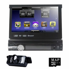 "7"" HD Single 1Din GPS Nav Auto Car DVD Player Stereo BT RDS Radio+Parking Camera"