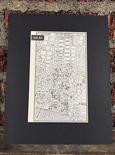 "City Map of Detroit Michigan  1958 Mid Century Black Matted 8""x10"" Art Print"