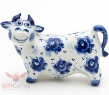 Bull in flowers collectible Gzhel Porcelain Figurine
