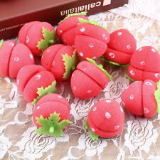 12x Strawberry Balls Hair Care Soft Sponge Rollers Curlers Lovely DIY Tool HR
