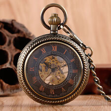 Retro Roman Numerals Skeleton Copper Analog Mechanical Women Pocket Watch Gift