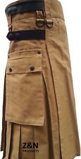 Men Beige / Khaki with Black Leather Straps Fashion Sport Utility Kilt